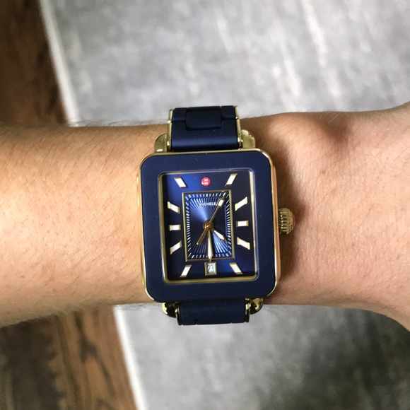 a344346b5 Michele Accessories | Deco Sport Gold Navy Watch | Poshmark